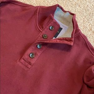 Brooks Brothers wine quarter button sweater large